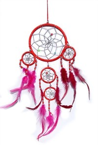 Dream Catcher with Silver Beads, red (11.5 cm)