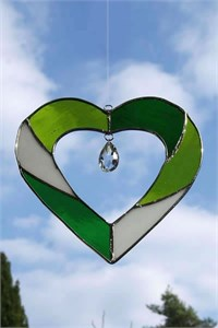 Green Heart Glass Suncatcher with Crystal