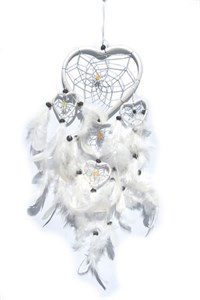 Multi-Heart Dream Catcher, White