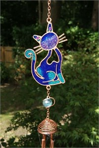 Blue Cat Wind Chime