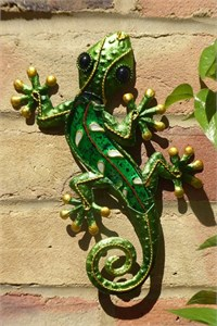 Decorated Green Glass Gecko, 21 cm