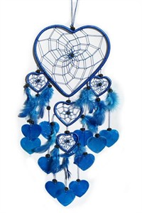 Heart Dream Catcher with Capiz, blue
