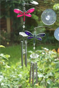 Pink/Purple Dragonfly Chimes with Suction Pad