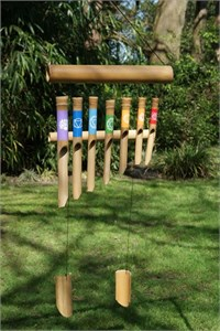 Bamboo Wind Chime with Chakra Colours