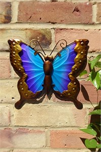 Blue and Purple Glass Butterfly Wall Art