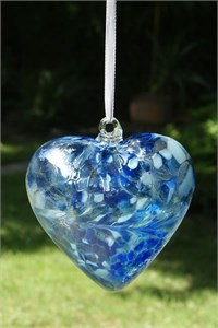 Blue Glass Heart, 12 cm
