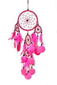 Dream Catcher with Capiz, pink (16 cm)
