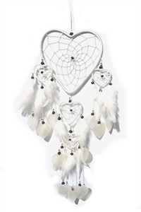 Heart Dream Catcher with Capiz, white
