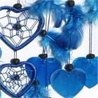 Heart Dream Catcher with Capiz, blue