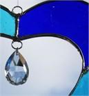 Blue Heart Glass Suncatcher with Crystal